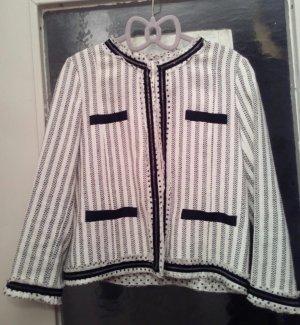 Zara Blazer en tweed blanc-noir tissu mixte