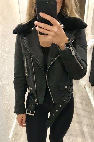 Zara Leren jack zwart-zilver