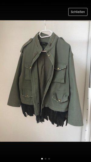 Zara Chaqueta militar caqui-gris verdoso