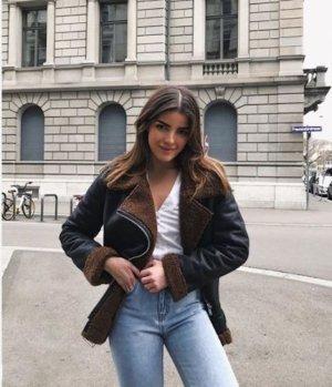 Zara Veste motard noir-marron clair
