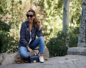 Zara Blazer en maille tricotée bleu acier
