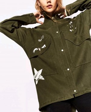 Zara Jacke Blazer Oversize Khaki Olivgrün S 36 38 40 Aufschrift