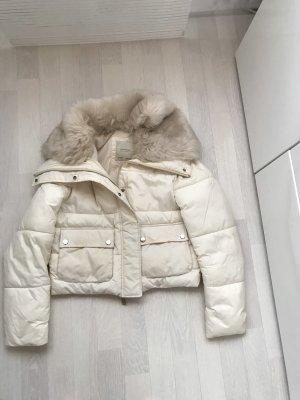 Zara Chaqueta beige claro-blanco