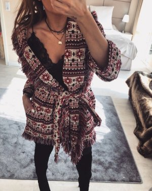 Zara Jacke Cardigan Fransen Mantel Boho Kimono Blogger