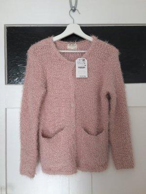 Zara Jacke Cardigan Strick Strickjacke Pink Rosa Nude Lachs XS 34 Neu