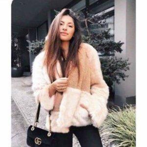Zara Veste en fausse fourrure crème-rose chair