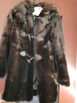 Zara Manteau en fausse fourrure cognac-brun foncé