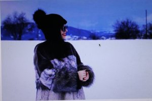 Zara Manteau en fausse fourrure multicolore fourrure artificielle