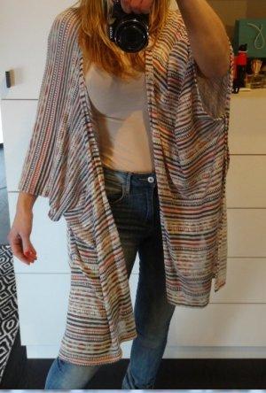Zara Jacke Long Weste Cardigan Strickjacke Langenlook Hippie BoHo Kimono