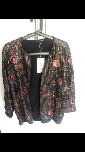 Zara Jacke mit Pailletten und Blumen überall ausverkauft