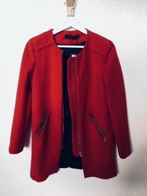 Zara Jacke rot Mantel Herbst Frühling Blogger tweed