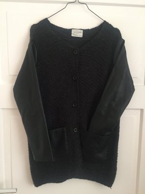 Zara Jacke Schwarz Strick Strickjacke Pullover Knitwear Lederärmel Leder knit