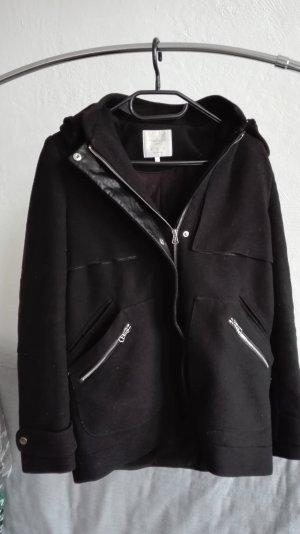 Zara Jacke Übergangsjacke XS 34 schwarz Mantel oversize