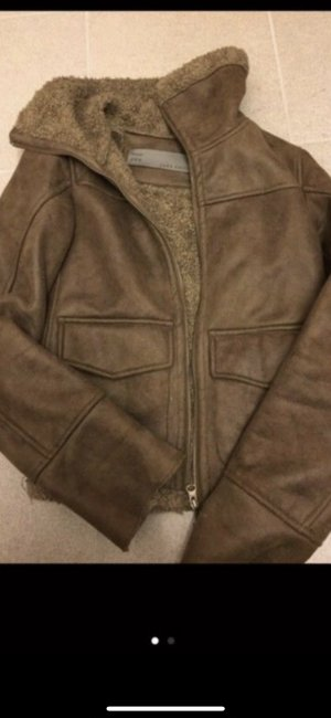 Zara Basic Veste d'hiver brun noir-brun