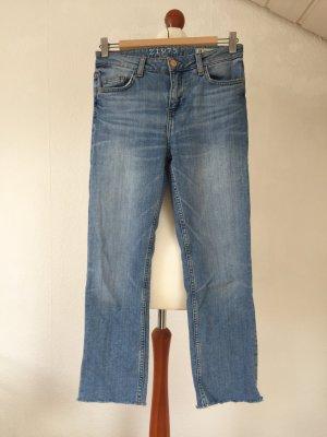 ZARA Jeans 34 XS Bluejeans Fransen hellblau