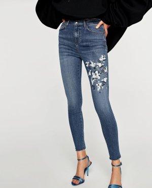 Zara Jeans skinny bleu-noir coton
