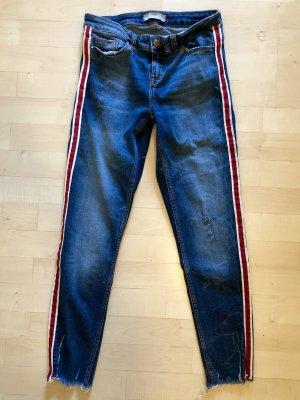 Zara Jeans 36 S dunkelblau Streifen rot weiß Stretch Skinny Top neuwertig destroyed