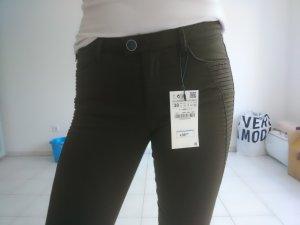 Zara Basic Skinny jeans oker-olijfgroen