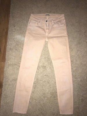 Zara Jeans vita bassa color oro rosa-rosa pallido