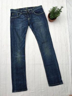 ZARA Jeans, gerades Bein, Low Waist, dunkelblau, mit kleinen Waschungen, Konfektionsgröße 38