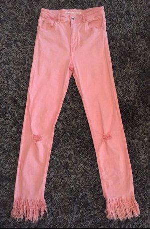 Zara Pantalón de cintura alta rosa