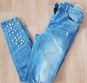 Zara Jeans Hose boohoo Blau mit Perlen