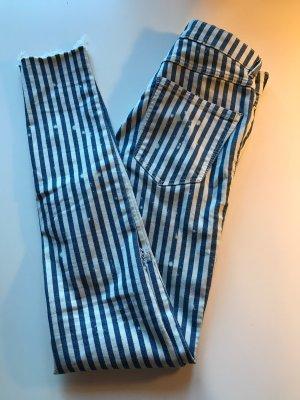 Zara Jeans Hose Gestreift Blau Weiß Gr. 34-36 wNeu