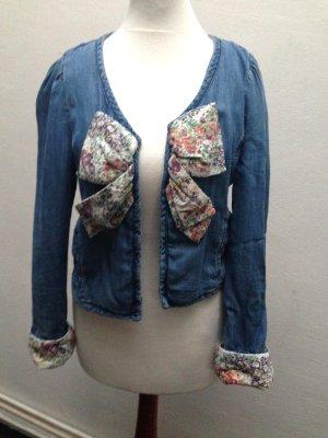 Zara Jeans Jacke Blumen Gr. XS 32 34