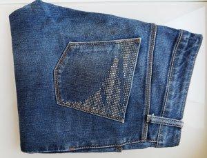 Zara Jeans mit Strass-Applikation, Straight Leg, Röhrenjeans, Gr. 38