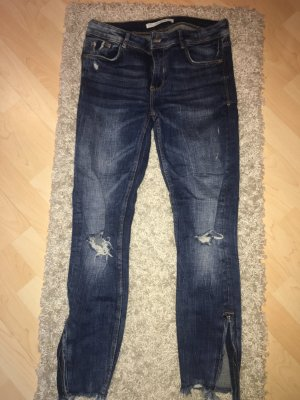 Zara Trafaluc Pantalone a sigaretta blu scuro