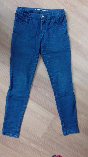 Zara Jeans Röhre Skinny Skin Hose S 36 Mid rise blau cropped