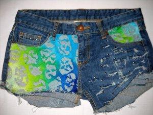 ZARA Jeans Shorts Hot Pants kurze Hose blau bunt Nieten silber nieten 36 38 S M