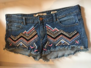 Zara Woman Denim Shorts blue-pink cotton