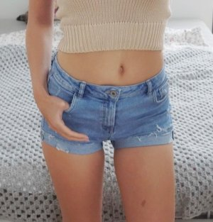 Zara Jeans Shorts Used Destroyed helle Waschung high warst XS 34
