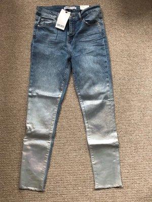 Zara Jeans Silber Gr. 42 (US 30) Neu mit Etikett