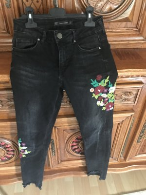 Zara Jeans Stickerei Blumen Skinny Gr.34