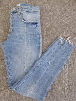 Zara Woman Jeans a vita alta azzurro Cotone