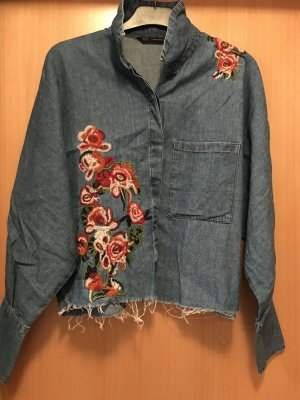 Zara Trafaluc Jeans blouse blauw-donkerrood