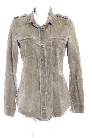 Zara Jeansbluse grüngrau-dunkelgrün Jeans-Optik