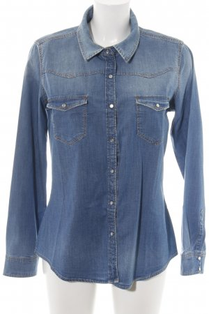 Zara Jeanshemd blau Street-Fashion-Look