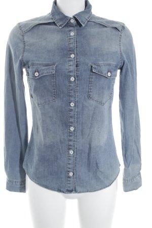 Zara Chemise en jean bleu clair-blanc style décontracté