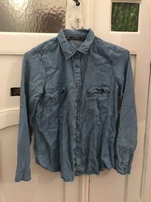 Zara Jeanshemd Jeans-Shirt in Denim Blue XS