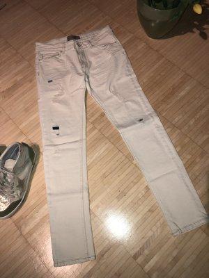 Zara Basic Jeans vita bassa bianco sporco