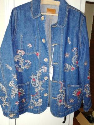 Zara Basic Spijkerjack blauw Katoen