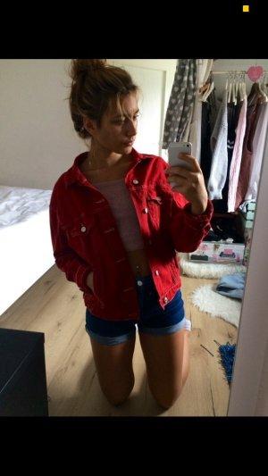 Zara Veste en jean rouge carmin-rouge foncé