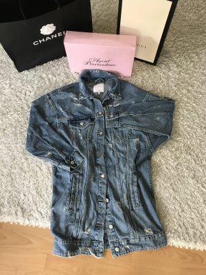 Zara Jeansjacke lang Mantel Blogger destroyed denim Löcher
