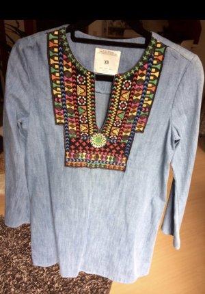 Zara Robe en jean bleu acier