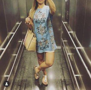 Zara Jeanskleid Minikleid M 38 blau Schildkröte TRF Top
