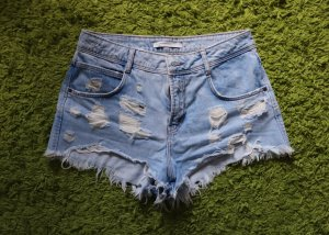 Zara Denim Shorts light blue-white
