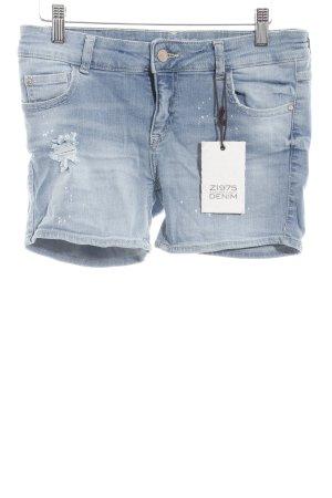 Zara Pantalón corto de tela vaquera azul claro lavado con ácido